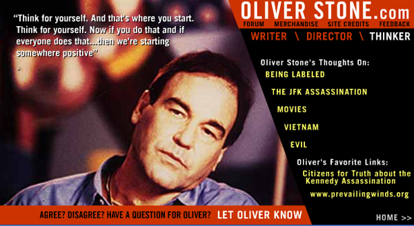 Screen Shot of Oliver Stones Z.com website.